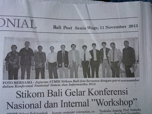 国際ワークショップ SocDic2013 @ インドネシア + 地元新聞に掲載されました